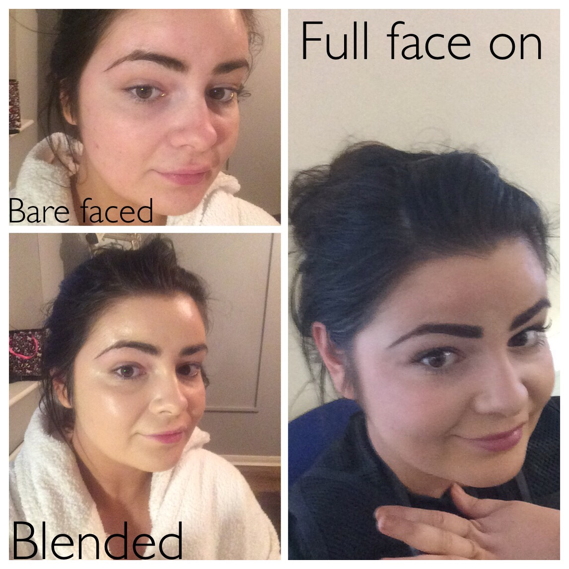bare minerals powder before and after. the product blends easily on skin and i hardly require a beauty blender to buff out edges, however do love using this in conjunction with bare minerals powder before after